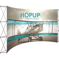 15ft x 8ft Hopup Floor 6x3 Curved Fabric Backwall Display with Front Graphic is the largest among Hop Up trade displays, making it the perfect way to stand out against the competition.