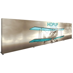 40ft x 8ft Hopup Floor 16x3 Straight Fabric Display with Full Fitted Graphic is the largest among Hop Up trade displays, making it the perfect way to stand out against the competition.