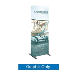 3ft Backlit HopUp Trade Show Display Graphic Only. Hop Up Backwalls are a great alternative to standard pop up background floor exhibits. Draw extra attention to your message with a Backlit Hop-Up Display Kit at trade show or event.