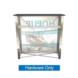 4ft HopUp Tradeshow Collapsible Display Counter Hardware Only is portable and lightweight, making an ideal counter option for your next trade show event. HopUp Display Counter - Collapsible counter top, custom front and side graphics, with internal shelf