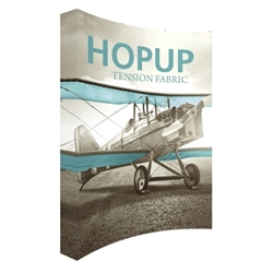 8ft Hopup 3x4 Curved Tension Fabric Display Kit with Full Fitted Graphic. Hopup is a perfect accent for trade show and event spaces of any size. A wheeled carry bag simplifies shipping and transportation.