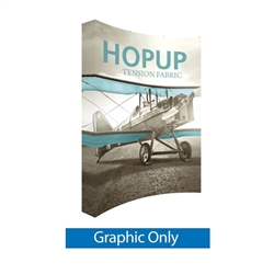 8ft x 10ft Hopup 3x4 Curved Tension Fabric Collapsible Backdrop Banner (w/o Endcaps) - Graphic Only. Hopup is a perfect accent for trade show and event spaces of any size. A wheeled carry bag simplifies shipping and transportation.