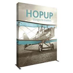 8ft Hopup 3x4 Tension Fabric Display Kit with with Front Graphic. Hopup is a perfect accent for trade show and event spaces of any size. A wheeled carry bag simplifies shipping and transportation.