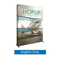 8ft Hopup 3x4 Tension Fabric Display Graphic Only. Hopup is a perfect accent for trade show and event spaces of any size. A wheeled carry bag simplifies shipping and transportation.