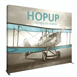 13ft Hopup 5x4 Tension Fabric Display Kit with Full Fitted Graphic. Hopup is a perfect accent for trade show and event spaces of any size. A wheeled carry bag simplifies shipping and transportation.