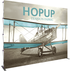 13ft Hopup 5x4 Tension Fabric Display Kit with Front Graphic. Hopup is a perfect accent for trade show and event spaces of any size. A wheeled carry bag simplifies shipping and transportation.