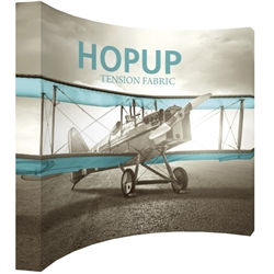 13ft x 10ft Hopup 5x4 Curved Tension Fabric Banner Kit (w/o Endcaps). Hopup is a perfect accent for trade show and event spaces of any size. A wheeled carry bag simplifies shipping and transportation.