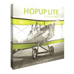 8ft Hopup Lite 3x3 Straight Fabric Display Kit with Full Fitted Graphic. Hopup Lite 3x3 features an economy aluminum frame and hook and loop-applied, straight fabric mural with or without endcaps.