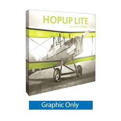 8ft x 8ft Hopup Lite 3x3 Straight Fabric Collapsible Backdrop Graphic Only (w/ Endcaps). Hopup Lite 3x3 features an economy aluminum frame and hook and loop-applied, straight fabric mural with or without endcaps.
