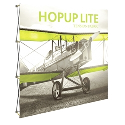 8ft Hopup Lite 3x3 Straight Fabric Display Kit with Front Graphic. Hopup Lite 3x3 features an economy aluminum frame and hook and loop-applied, straight fabric mural with or without endcaps.