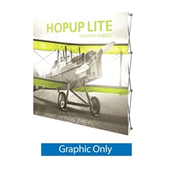 8ft x 8ft Hopup Lite 3x3 Straight Fabric Collapsible Backdrop Graphic Only (w/o Endcaps). Hopup Lite 3x3 features an economy aluminum frame and hook and loop-applied, straight fabric mural with or without endcaps.