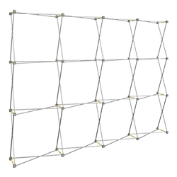 8ft x 8ft Hopup Lite 3x3 Straight Fabric Display Hardware Only. Hopup Lite 3x3 features an economy aluminum frame and hook and loop-applied, straight fabric mural with or without endcaps.