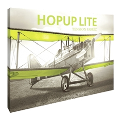 10ft Hopup Lite 4x3 Straight Fabric Display Kit with Full Fitted Graphic. Hopup Lite 3x3 features an economy aluminum frame and hook and loop-applied, straight fabric mural with or without endcaps.