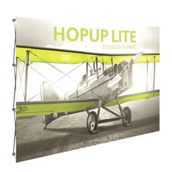 10ft Hopup Lite 4x3 Straight Fabric Display Kit with Front Graphic. Hopup Lite 3x3 features an economy aluminum frame and hook and loop-applied, straight fabric mural with or without endcaps.