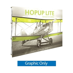 10ft x 8ft Hopup Lite 4x3 Straight Fabric Collapsible Backdrop Graphic Only  (w/o Endcaps). Hopup Lite 3x3 features an economy aluminum frame and hook and loop-applied, straight fabric mural with or without endcaps.