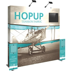 8ft Hopup 3x3 Backwall Display Dimension Kit 01  (w/o Endcaps) includes 3x3 straight hopup backwall with front graphic, 2 stand-off rigid graphic accents with literature pocket holders, monitor mount and 2 lumina 200 lights, monitor mount holds up to 23in