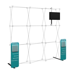 Hopup 3x3 Backwall Display Dimension Accessory Kit 01 includes 3x3 straight hopup backwall with front graphic, 2 stand-off rigid graphic accents with literature pocket holders, monitor mount and 2 lumina 200 lights, monitor mount holds up to 23in
