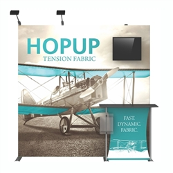 8ft Hopup 3x3 Backwall Display Dimension Kit 02 (w/o Endcaps) includes 3x3 straight hopup backwall with front graphic, stand-off counter with graphic and literature pocket holder, monitor mount and 2 lumina 200 lights, monitor mount holds up to 23in and 3