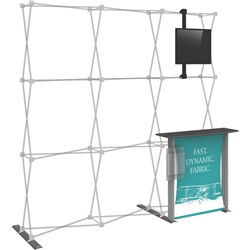 3x3 Hopup Backwall Display Dimension Accessory Kit 02 includes stand-off counter with graphic and literature pocket holder, monitor mount and 2 lumina 200 lights, monitor mount holds up to 23in and 30lbs.