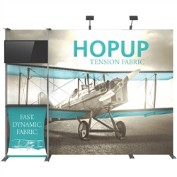 10ft Hopup 4x3 Backwall Display Dimension Kit 03 includes 4x3 straight hopup backwall with front graphic, stand-off counter with graphic and literature pocket holder, monitor mount and 2 lumina 200 lights, monitor mount holds up to 40in and 40lbs