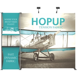 10ft Hopup 4x3 Backwall Display Dimension Kit 04 includes 4x3 straight hopup backwall with front graphic, stand-off counter with 2 fabric graphics, monitor mount and 2 lumina 200 lights. Hopup is one of the most popular large format graphic exhibits