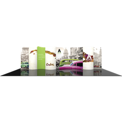 30ft Modulate Backwalls with Magnetic frames are a stylish way to display media at any tradeshow, event, retail or expo. These trade show displays feature unique angles & shapes that can be changed to create new booths! Portable & easy to assemble.