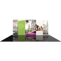 20ft Modulate Backwall frames with clamps are a stylish way to display media at any tradeshow, event, retail or expo. These trade show displays feature unique angles & shapes that can be changed to create new booths! Portable & easy to assemble.
