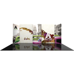 20ft Modulate Backwalls with Magnetic frames are a stylish way to display media at any tradeshow, event, retail or expo. These trade show displays feature unique angles & shapes that can be changed to create new booths! Portable & easy to assemble.