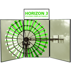 5ft Horizon 3 Folding Display Panel System is a quick to set up, easy to use display system created specifically to hold your custom graphics. Available in several shapes and sizes, you can find the Horizon that is right for you.