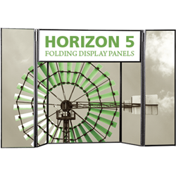 6ft Horizon 5 Folding Display Panel System is a quick to set up, easy to use display system created specifically to hold your custom graphics. Available in several shapes and sizes, you can find the Horizon that is right for you.