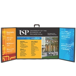 Voyager Mini 3 Panel Briefcase Tabletop Display is one of the most compact and convenient methods of promoting your business at trade shows and exhibitions. Table top displays for trade show features fabric panels of varying sizes and shapes.