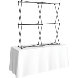 5ft Xclaim 3-D PopUp Table Top Display Kit 04 Frame Only. Portable tabletop displays and exhibits. Several different styles are available, including pop up frames with stretch fabric or fold up panels with custom graphics.