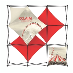8ft Xclaim Full Height Fabric Popup Display Kit 02 with Full Fabric Graphics. Portable tabletop displays and exhibits. Several different styles are available, including pop up frames with stretch fabric or fold up panels with custom graphics.