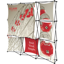 8ft Xclaim Full Height Fabric Popup Display Kit 03 with Full Fabric Graphics. Portable displays and exhibits. Several different styles are available, including pop up frames with stretch fabric or fold up panels with custom graphics.