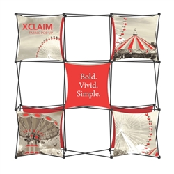 8ft Xclaim Full Height Fabric Popup Display Kit 04 with Full Fabric Graphics. Portable tabletop displays and exhibits. Several different styles are available, including pop up frames with stretch fabric or fold up panels with custom graphics.