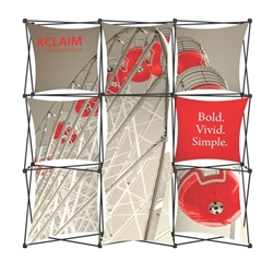 8ft Xclaim Full Height Fabric Popup Display Kit 05 with Full Fabric Graphics. Portable displays and exhibits. Several different styles are available, including pop up frames with stretch fabric or fold up panels with custom graphics.