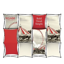 10ft Xclaim Full Height Fabric Popup Display Kit 03 with Full Fabric Graphics. Portable displays and exhibits. Several different styles are available, including pop up frames with stretch fabric or fold up panels with custom graphics.