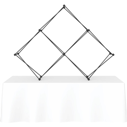 8ft Xclaim Tabletop 3 Quad Pyramid Fabric Popup Display Kit 02 Frame Only. Portable tabletop displays and exhibits. Several different styles are available, including pop up frames with stretch fabric or fold up panels with custom graphics.