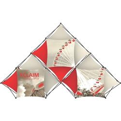 14ft Xclaim 10 Quad Pyramid Fabric Popup Display Kit 02 with Full Fabric Graphics. Portable displays and exhibits. Several different styles are available, including pop up frames with stretch fabric or fold up panels