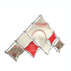 14ft Xclaim 10 Quad Pyramid Fabric Popup Display Kit 03 with Full Fabric Graphics. Portable displays and exhibits. Several different styles are available, including pop up frames with stretch fabric or fold up panels