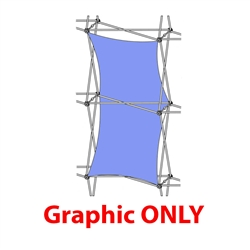 2,5ft Xclaim 1x2 Quad Double Thread Fabric Popup Display - Graphic Only. Portable displays and exhibits. Several different styles are available, including pop up frames with stretch fabric or fold up panels