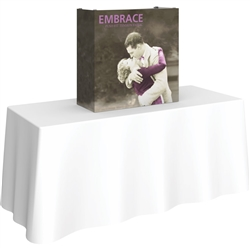 2,5ft Embrace Tabletop Push-Fit Tension Fabric Display with Front Graphic. Portable tabletop displays and exhibits. Several different styles are available, including pop up frames with stretch fabric or fold up panels