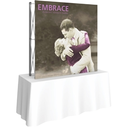 5ft Embrace Square Tabletop Push-Fit Tension Fabric Display with Front Graphic. Portable tabletop displays and exhibits. Several different styles are available, including pop up frames with stretch fabric or fold up panels
