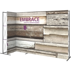 11ft Embrace Left L-Shape Push-Fit Tension Fabric Display 01 with Single-Sided Front Graphic. Portable tabletop displays and exhibits. Several different styles are available, including pop up frames with stretch fabric or fold up panels