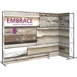 11ft Embrace L-Shape Push-Fit Tension Fabric Display 02 with Single-Sided Front Graphic. Portable tabletop displays and exhibits. Several different styles are available, including pop up frames with stretch fabric or fold up panels
