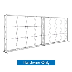 20ft Embrace Full Height Push-fit Tension Fabric Display with Single-Sided Front Graphic Hardware Only. Portable tabletop displays and exhibits. Several different styles are available, including pop up frames with stretch fabric or fold up panels