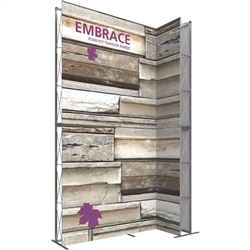 10ft Embrace Wide Stacking Push-Fit Tension Fabric Display with Single-Sided Full Fitted Graphic. Portable tabletop displays and exhibits. Several different styles are available, including pop up frames with stretch fabric or fold up panels