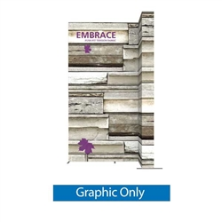 Double-Sided Graphic for 10ft Embrace Wide Stacking Push-Fit Tension Fabric Display with Full Fitted Graphic.  Portable tabletop displays and exhibits. Several different styles are available, including pop up frames with stretch fabric or fold