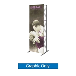 Replacement Fabric for 2.5ft Embrace Push-Fit Tension Fabric Display with Front Graphic. Portable tabletop displays and exhibits. Several different styles are available, including pop up frames with stretch fabric or fold up panel