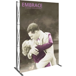 5ft Embrace Push-Fit Tension Fabric Display with Front Graphic. Portable tabletop displays and exhibits. Several different styles are available, including pop up frames with stretch fabric or fold up panels